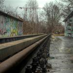 Railway line in East Berlin by scott  - 